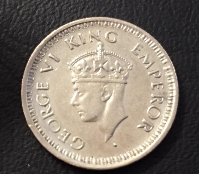 1943 1/4 rupee  silver 500  coin     J 2032