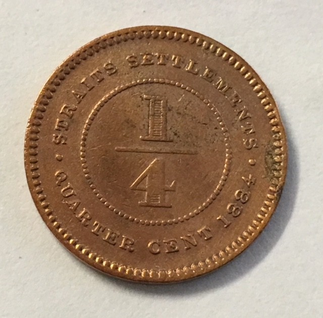 1884 Malay straits Quarter cent scarce Copper coin J 2033