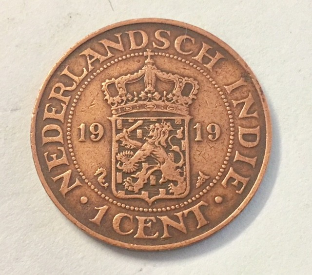 one cent bronze 1919 Netherlands East indies   J 2038