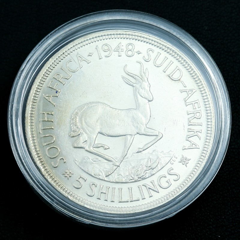 Silver .800 1948 South Africa 5 shillings Springbok in capsule