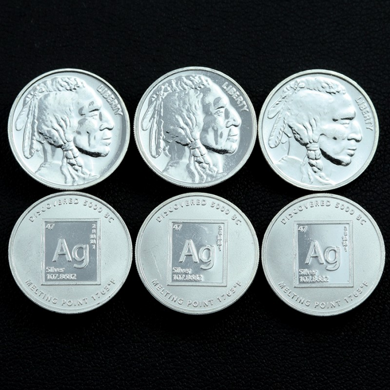 Silver .9999   SIX Silver rounds as Per images