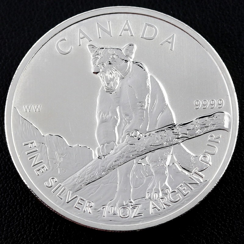2012 Canadian Silver Cougar Wildlife Series 1oz 999.9 co 948