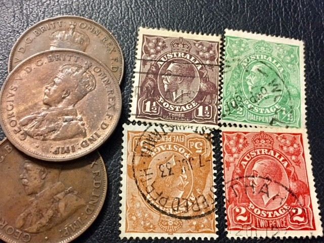 Parcel 3 One Penny coin plus stamps J2606