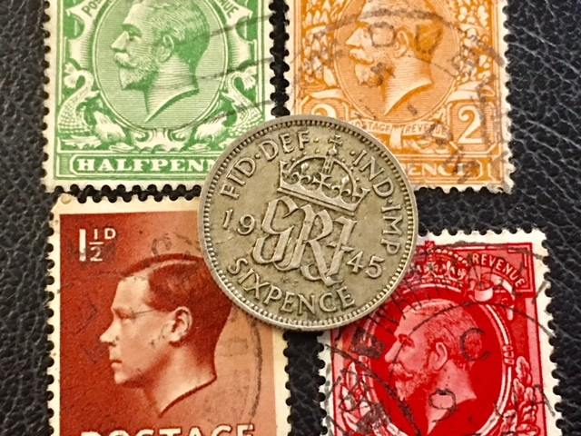 UK six pence   coins plus stamps J2611