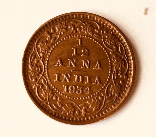1/12 ANNA INDIA BRITISH 1934  calcutta mint   J2633