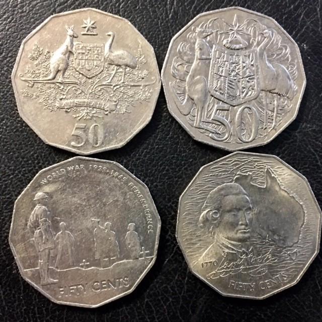 Parcel four Australian 50 cebnt coins  J 2669