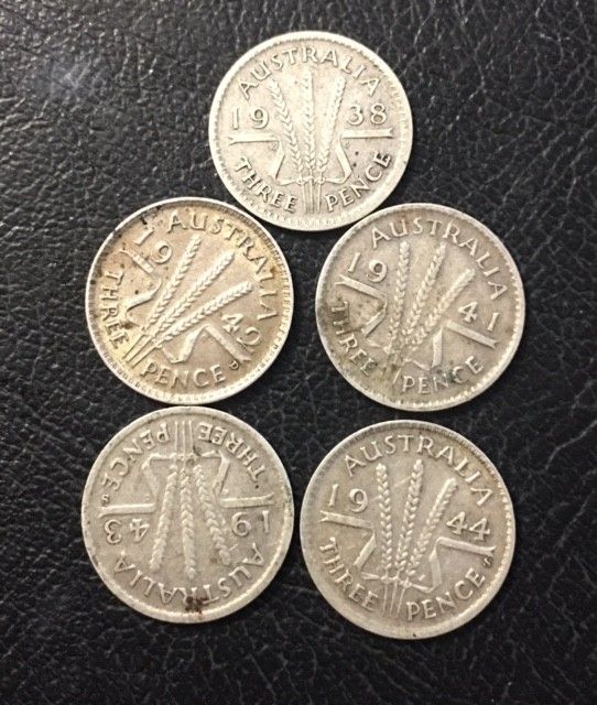 pre war ,925 Silver three pence parcel 5 coins J 2681