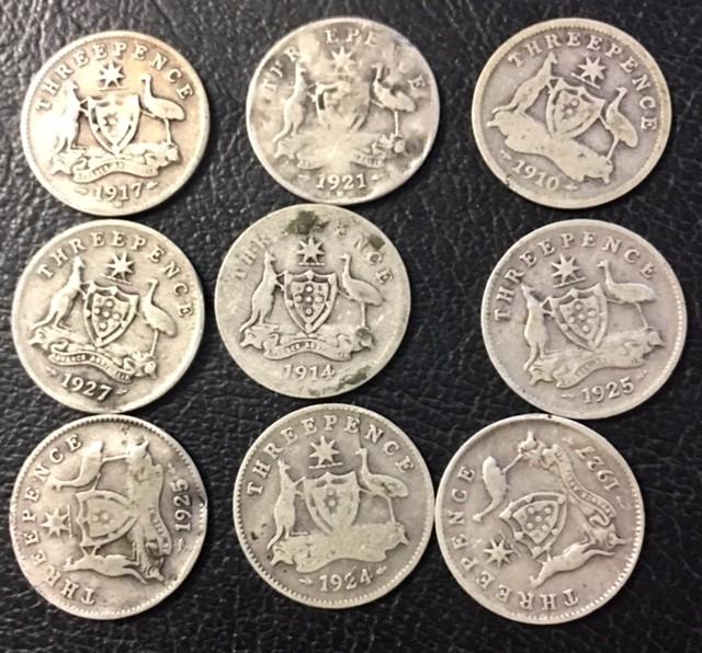 Pre war .925 Silver three pence parcel 9coins J 2683