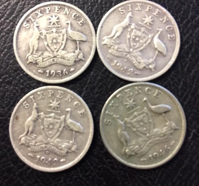 Pre war  925 Silver Six  pence parcel 4 coins J 2686