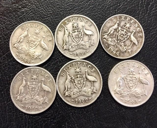 Pre war  925 Silver Six  pence parcel 6 coins J 2695