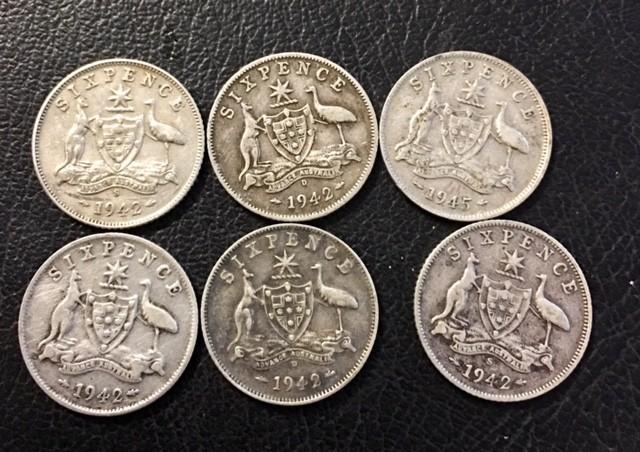 Pre war  925 Silver Six  pence parcel 6 coins J 2696