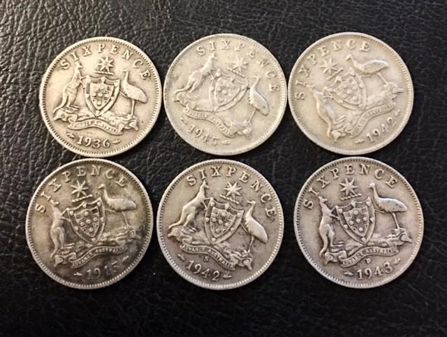 Pre war  925 Silver Six  pence parcel 6 coins J 26897