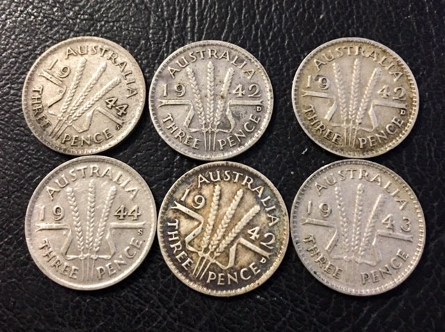 Pre war  925 Silver Three pence parcel 6 coins J 2698