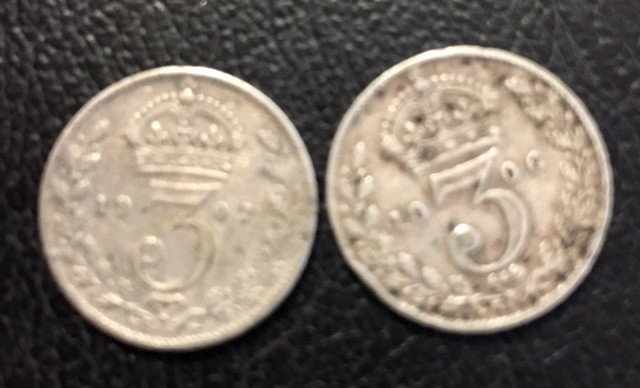 two 3 d   925 Silver  coins J 2703
