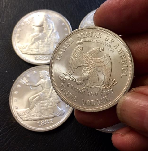 Replica set six  Trade Dollars   1880 to 1885   J 2751