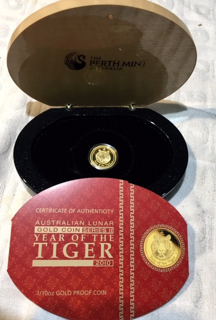 Lunar year of tiger 2019 gold  Proof coin  1/10 ounce