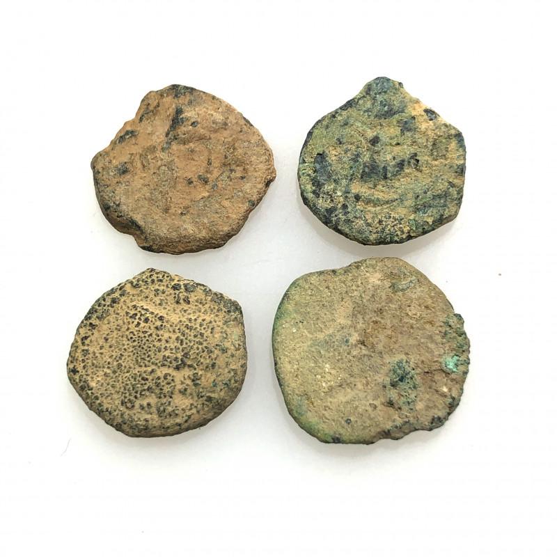 As Found ,four Nabataean Bronze Coins CP 141