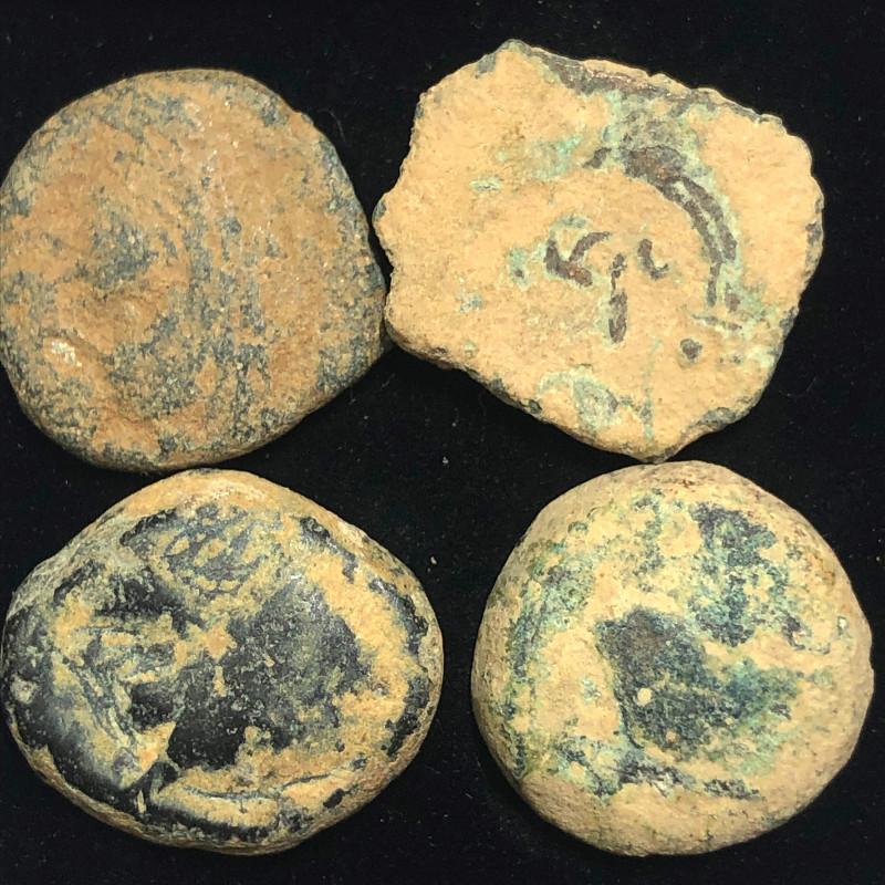 As Found ,four Nabataean Bronze Coins CP 143