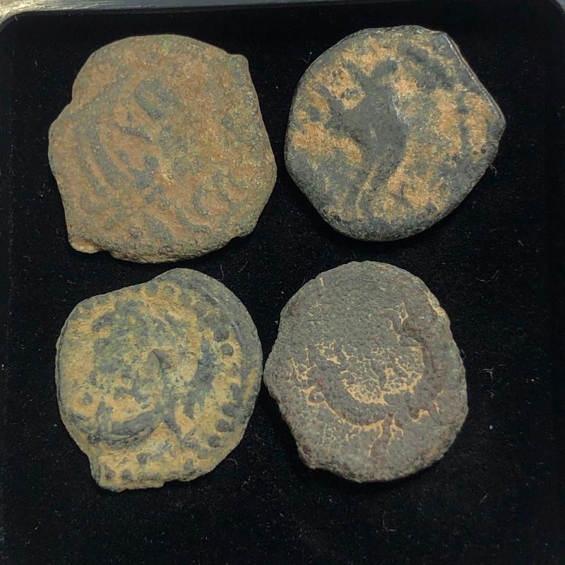 As Found ,four Nabataean Bronze Coins CP 145