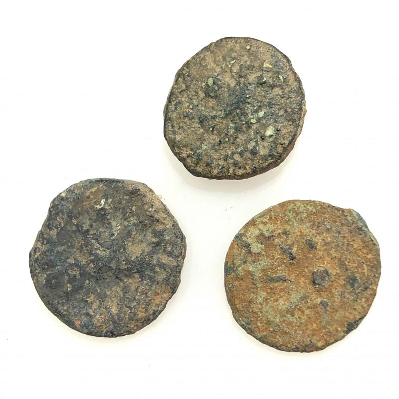 Original as found, 3 Judean Bronze coins Found Holy land CP 160