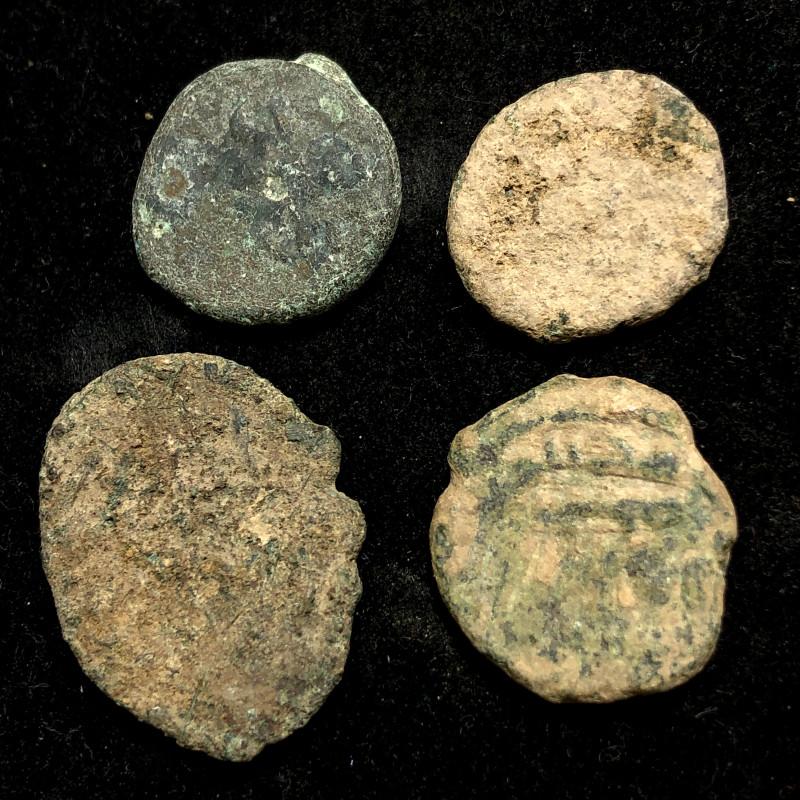 Original as found, 4  Judean Bronze coins Found Holy land CP 134