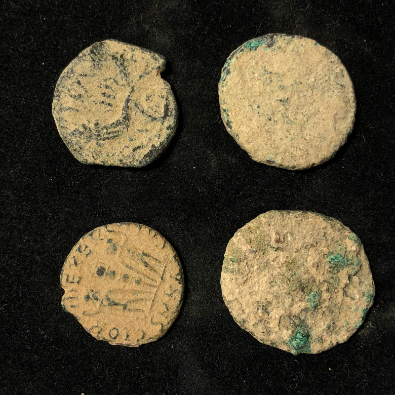 Original as found, 4 Judean Bronze coins Found Holy land CP 135