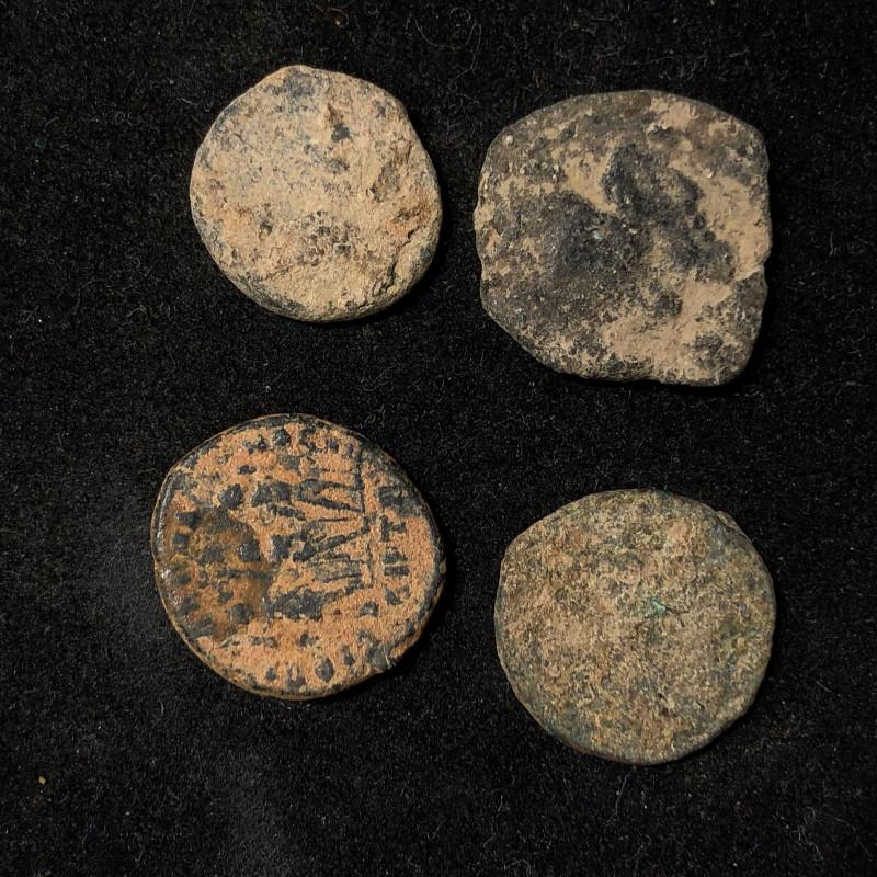 Original as found, 4 Judean Bronze coins Found Holy land CP 137