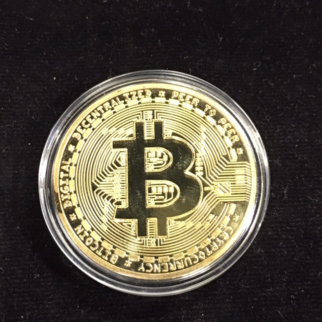 Bitcoin in Capsule Gift Art Collection new gold plated in quality plastic c