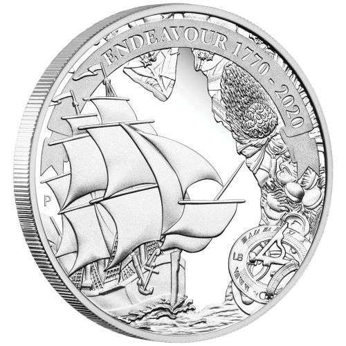 Voyage of Discovery Endeavour 1770 silver proof coin