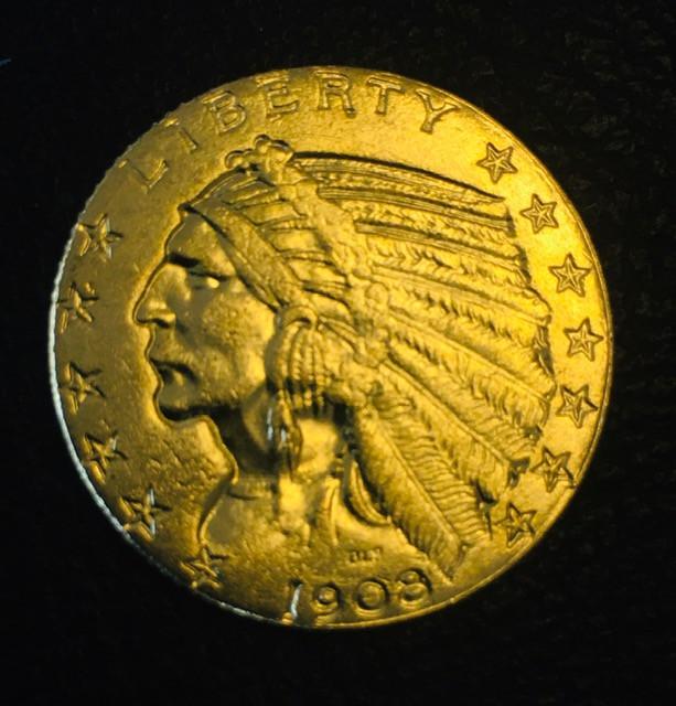 Collectible Indian head 1908  $5.00 Gold Coin replica   CP 417