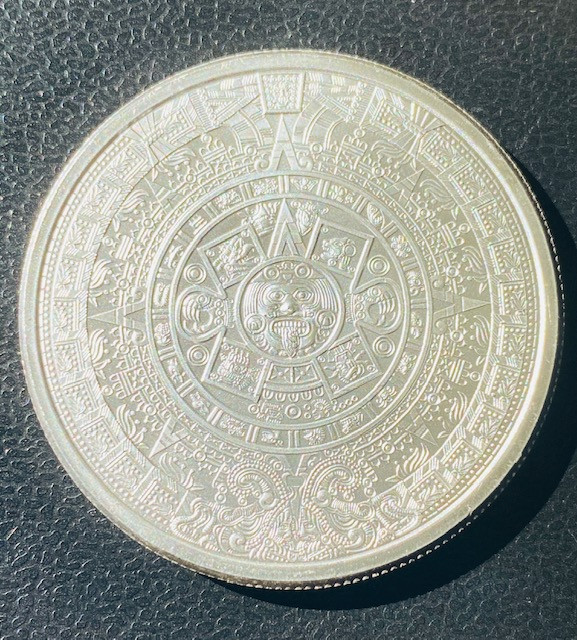 One Ounce Intricate detailed Aztec Round .999 Bullion Silver