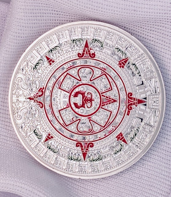 Aztec Calendar medallion silver Polish