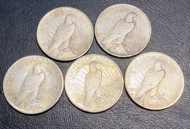 5Pc Replica  Peace Dollar Art Form Design   1922-1934    CP701