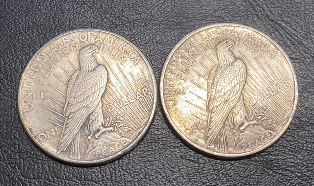 2 Pc Replica  Peace Dollar Art Form Design   1934-1935   CP704