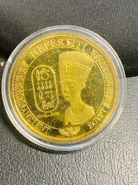 Nefertiti Ancient Egyptian Gold plated replica medallion