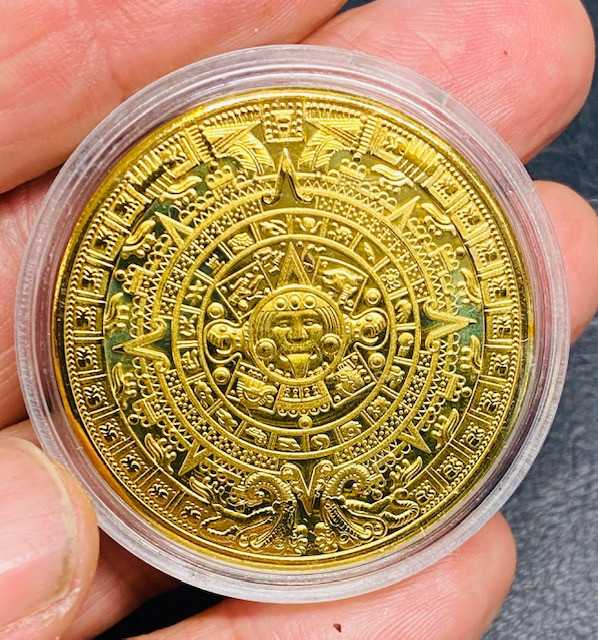 Replica Intricate detailed Aztec Round Gold Plated