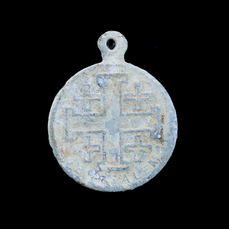 Holy Land Artifact 19th cent silver  Cross Pendant   -Code Ch 899