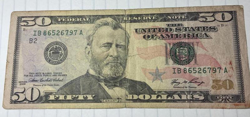 2006 fifty dollar bill  SERIAL NUMBERiB86526797A