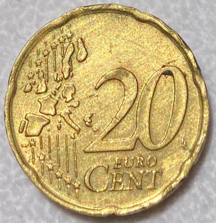 Italy 20 euro cent 2002 Rare coin
