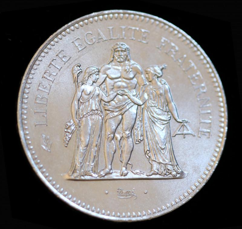 France, 50 Francs,Hercule    1975, Silver 900 code co 744a