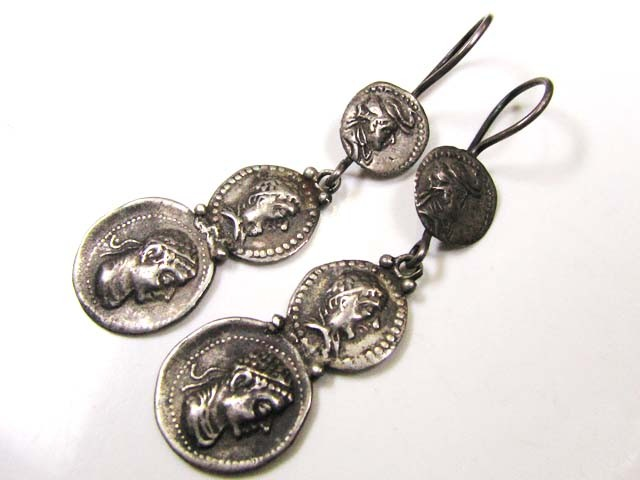 REPRODUCTION ANCIENT BYZANTINE  SILVER EARRINGS  J820