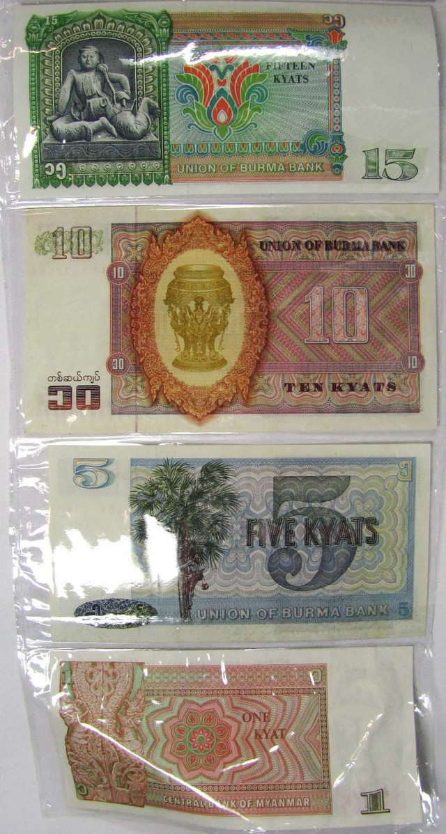 MYANMAR 24 NOTES COLECTION  NEW ,OLD ,1945  J 835