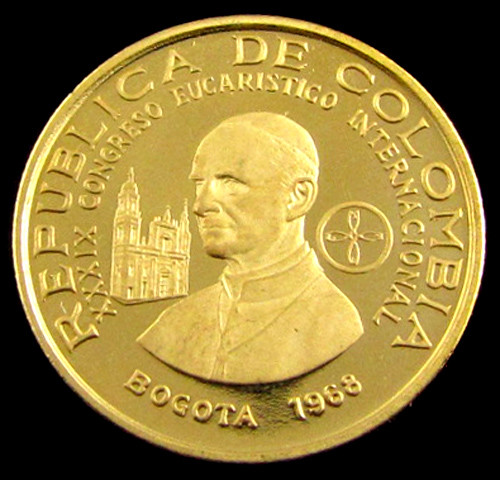 Gold Coin Colombia 100 Pesos 1968 Pope Paul V1 Congr