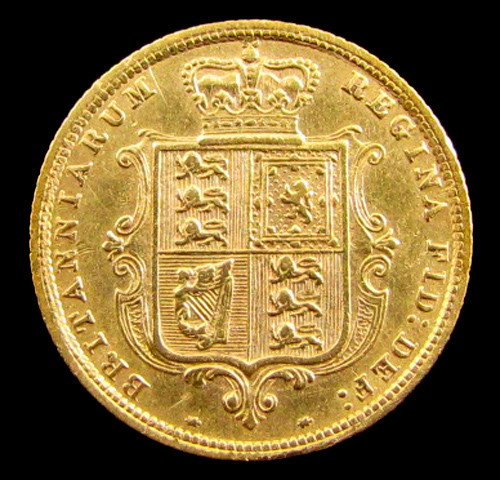 GOLD COIN HALF SOVERIGN  VICTORIA 1883  YOUNG HEAD CO 823