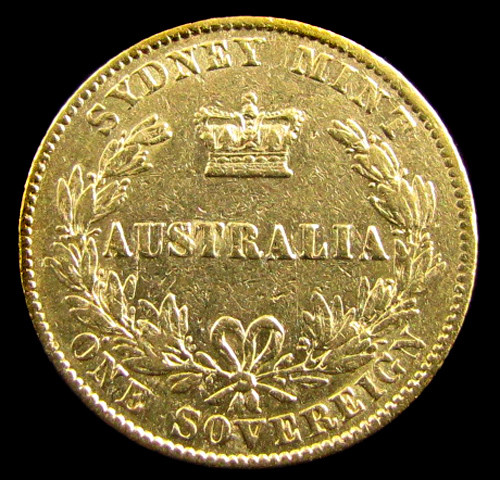 GOLD COIN  SOVERIGN 1866 SYDNEY MINT  CO 825
