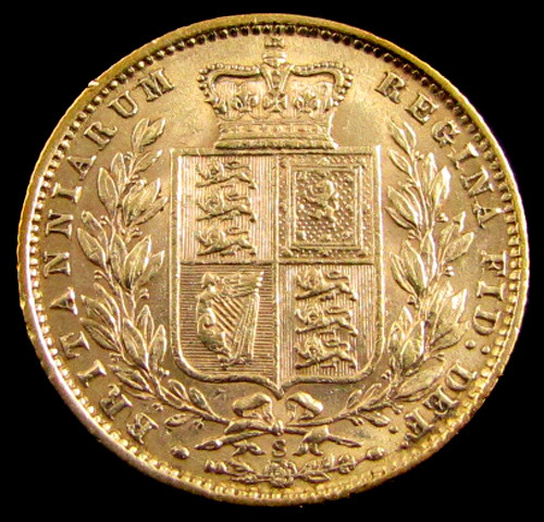 GOLD COIN  SOVERIGN 1877 SYDNEY SHIELD CO 827