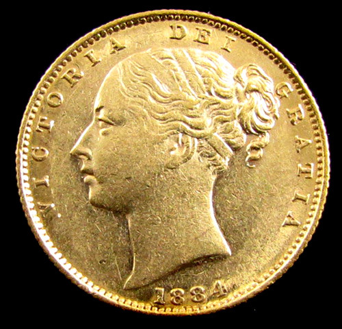 GOLD COIN  SOVERIGN 1884 SYD SHEILD  CO 829