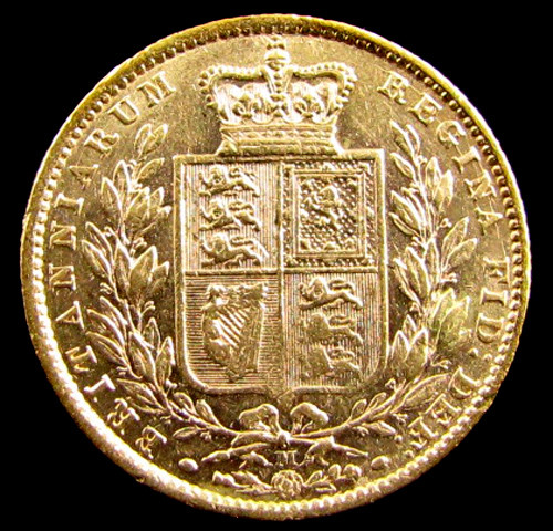 GOLD COIN  SOVERIGN  1872  MELBOURNE SHIELD CO 832