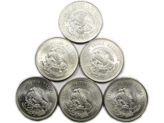 PARCEL 6 1948 MEXICAN  900 SILVER COINS 5 PESO CO868