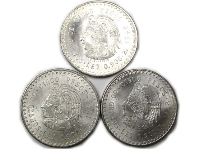 PARCEL 3  X 1948  MEXICAN .900 SILVER  COINS 5 PESO   CO870